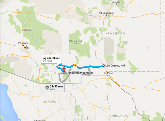2015-10-28 13_15_12-Las Cruces, NM to Chiricahua Mountains, Cochise County, AZ - Google Maps