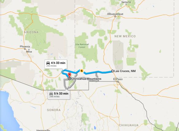 2015-10-28 13_15_12-Las Cruces, NM to Chiricahua Mountains, Cochise County, AZ - Google Maps